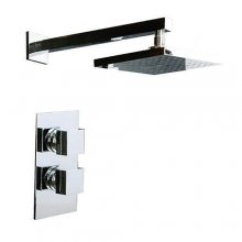 Twin Squared Concealed Valve, Square Shower Head & Square Arm
